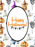 Card template, oval frame on watercolor Halloween background Royalty Free Stock Photos