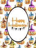 Card template, oval frame on watercolor Halloween pumpkins background Stock Photos