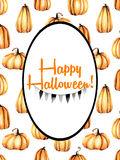 Card template, oval frame on watercolor pumpkins background Stock Photos