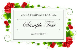 Card template with red rose Stock Image