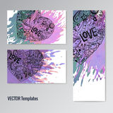 Card template set. Doodle hearts. Paint splash. Royalty Free Stock Images