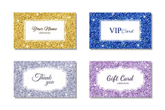 Card template with shiny glitter texture. Calling card, gift card, VIP card. Vector illustration. Card template with shiny glowing glitter texture. Calling card Stock Image