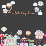 Card template with watercolor elements of amusement park. Hand drawn isolated on a dark background, carousels, aerostats, air balloons and other Stock Photos