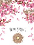 Card template with watercolor spring blooming cherry tree branches and bird nests, greeting background. Hand painted on a white background Royalty Free Stock Photography