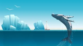 Card template with whale jumping under the blue ocean surface near icebergs. Winter arctic vector illustration. Iceland. Royalty Free Stock Photos