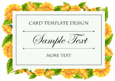 Card template with yellow calendula flowers Royalty Free Stock Images