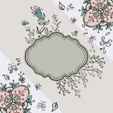 Card with template for your text. Card with a template for text on white background with doodle flowers Stock Illustration