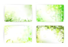 Card templates. Floral gift or credit card templates, size 3 3/8 x 2 1/8 (86 x 54 mm Royalty Free Stock Images