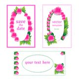 Card templates with peonies. Beautiful design for congratulations, invitations vector illustration