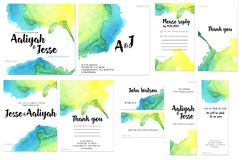 Card templates set with blue and yellow watercolor splashes background; artistic design for business, wedding, anniversary. Invitation, flyers, brochures, table Stock Photography