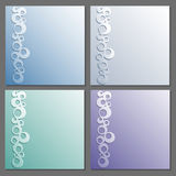 Card templates set. Paper frame. Rings pattern with shadow. Stock Photo