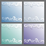 Card templates set. Paper frame. Rings pattern with shadow. Stock Photos