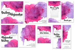 Card templates set with purple and crimson watercolor splashes background; artistic design for business, wedding, anniversary. Invitation, flyers, brochures Royalty Free Stock Photos