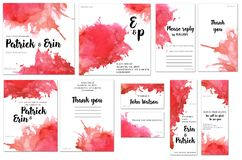 Card templates set with red watercolor splashes background; artistic design for business, wedding, anniversary. Invitation, flyers, brochures, table number Royalty Free Stock Image