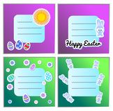 Card Templates Set Vector Happy Easter with stickers eggs, bunnies, flowers. Illustration for greeting cards and royalty free illustration