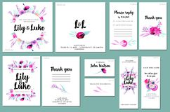 Card templates set with watercolor lavender, pink roses and leaves background; artistic design for business, wedding, anniversary stock illustration