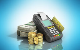 Card terminal on stacks of dollar bills with a bank card inside. 3d illustration on blue glossy Stock Photography