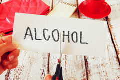 Card with the text alcohol. stop alcoholism concept Stock Photos