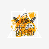 Card with text Happy Baisakhi. New year in Punjab. The celebration of the festival Baisakhi in India. Print for holiday. Vector. Illustration Royalty Free Stock Photography