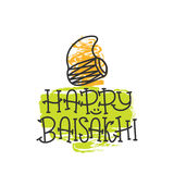 Card with text Happy Baisakhi. New year in Punjab. The celebration of the festival Baisakhi in India. Print for holiday. Vector. Illustration Stock Photos