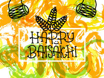 Card with text Happy Baisakhi. New year in Punjab. The celebration of the festival Baisakhi in India. Print for holiday. Vector. Illustration Royalty Free Stock Photo