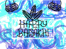 Card with text Happy Baisakhi. New year in Punjab. The celebration of the festival Baisakhi in India. Print for holiday. Vector. Illustration Stock Image