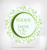 Card with text Happy Easter, three white eggs Royalty Free Stock Photos