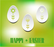Card with text Happy Easter, three white eggs Stock Photos