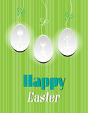Card with text Happy Easter, three white eggs Royalty Free Stock Image