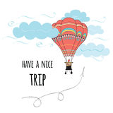 Card with text Have a nice trip decorated hot air balloon Royalty Free Stock Images