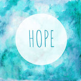 Card Hope in the round frame - blue green watercolor background Royalty Free Stock Photos