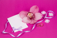 Card for text  and orchid Royalty Free Stock Photography
