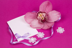Card for text  and orchid Royalty Free Stock Photos