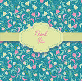 Card with  thanks. Green seamless and card with thanks Royalty Free Stock Photos