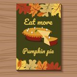 Card for Thanksgiving with cut pie. Vector illustration. Card green with leaves for Thanksgiving with cut and decorated cake. Vector illustration Stock Photos