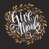 Card for Thanksgiving Day on the blackboard with Royalty Free Stock Photography
