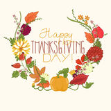 Card for thanksgiving day with flowers and leaves Stock Images