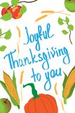 Card for Thanksgiving Day. Vegetables and inscription `Joyful Thanksgiving to you`. Vector illustration template. Card for Thanksgiving Day. Vegetables and vector illustration