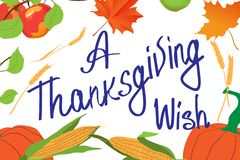 Card for Thanksgiving Day. Vegetables and inscription `A Thanksgiving wish`. Vector illustration holiday template. Card for Thanksgiving Day. Vegetables and vector illustration