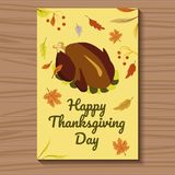 Card for Thanksgiving with a ready turkey. Vector illustration. Card yellow for Thanksgiving Day with a ready turkey and autumn foliage. Vector illustration Stock Images