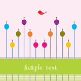 Card with the theme of spring. Pink background with colorful eggs, red bird and space for text royalty free illustration