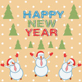 Card three funny snowmen happy Royalty Free Stock Images