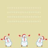 Card three funny snowmen happy Stock Photo