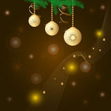 Card with three golden balls and snowflakes, fir branches. And ribbon Stock Photos