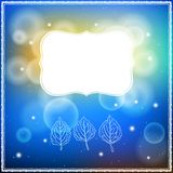 Card with three leaves and frame on bokeh lights Royalty Free Stock Photos