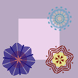 Card and three snowflakes. Mail greeting card with three snowflakes Stock Photo