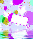 Card Tied To Balloon Displays Birthday Party Invitation Or Celeb Stock Images