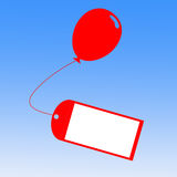 Card Tied To Balloon Shows Greeting Card Or Stock Images
