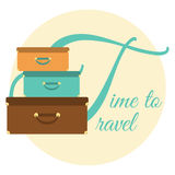 Card Time to Travel. Postcard with three suitcases and text Time to travel Royalty Free Stock Photo