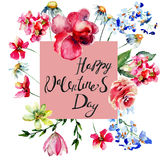 Card with title Happy Valentine's day and flowers Royalty Free Stock Photo